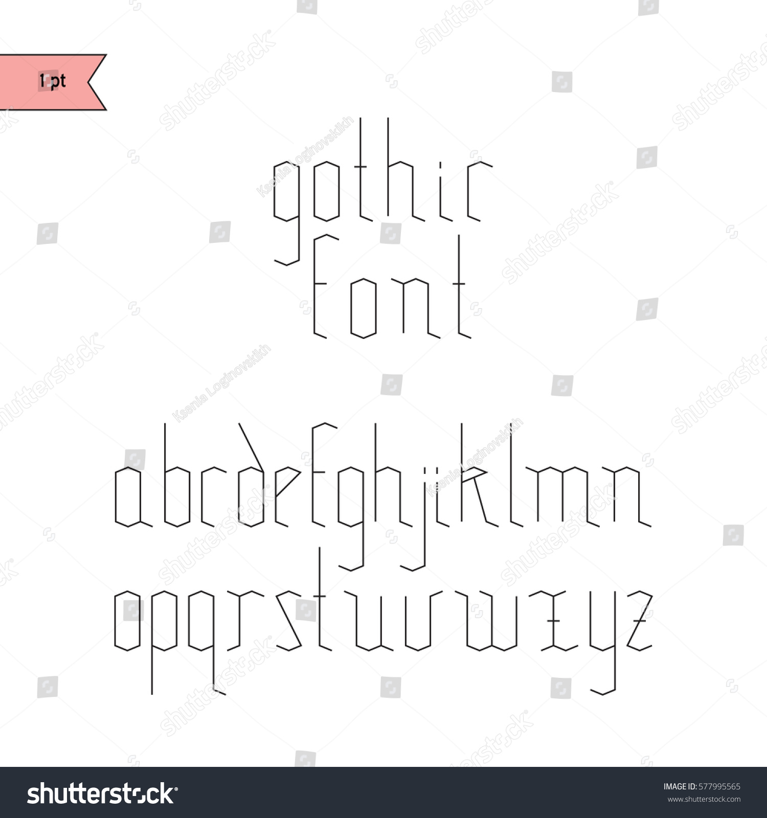 Vector Linear Font Simple Alphabet Mono Stock 577995565