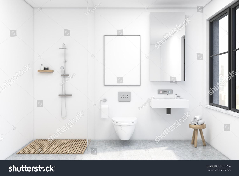 Bathroom Interior Shower Toilet Sink There Stock Illustration ...