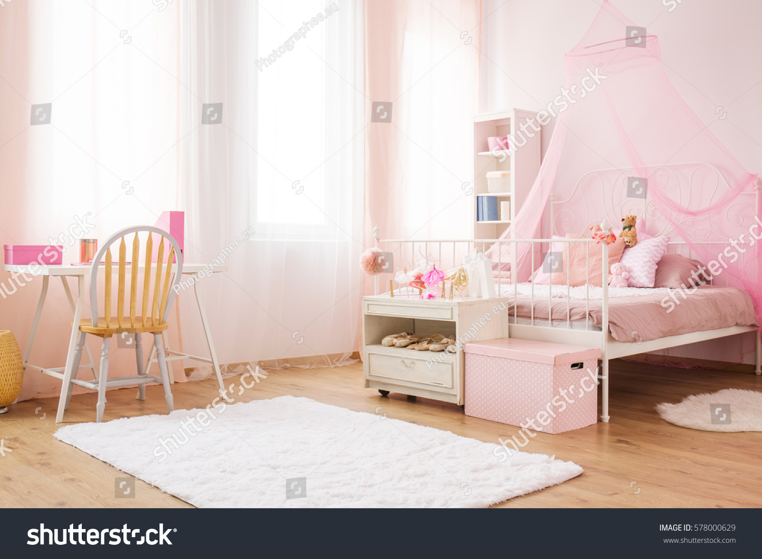 pink little princess room canopy bed stock photo 578000629
