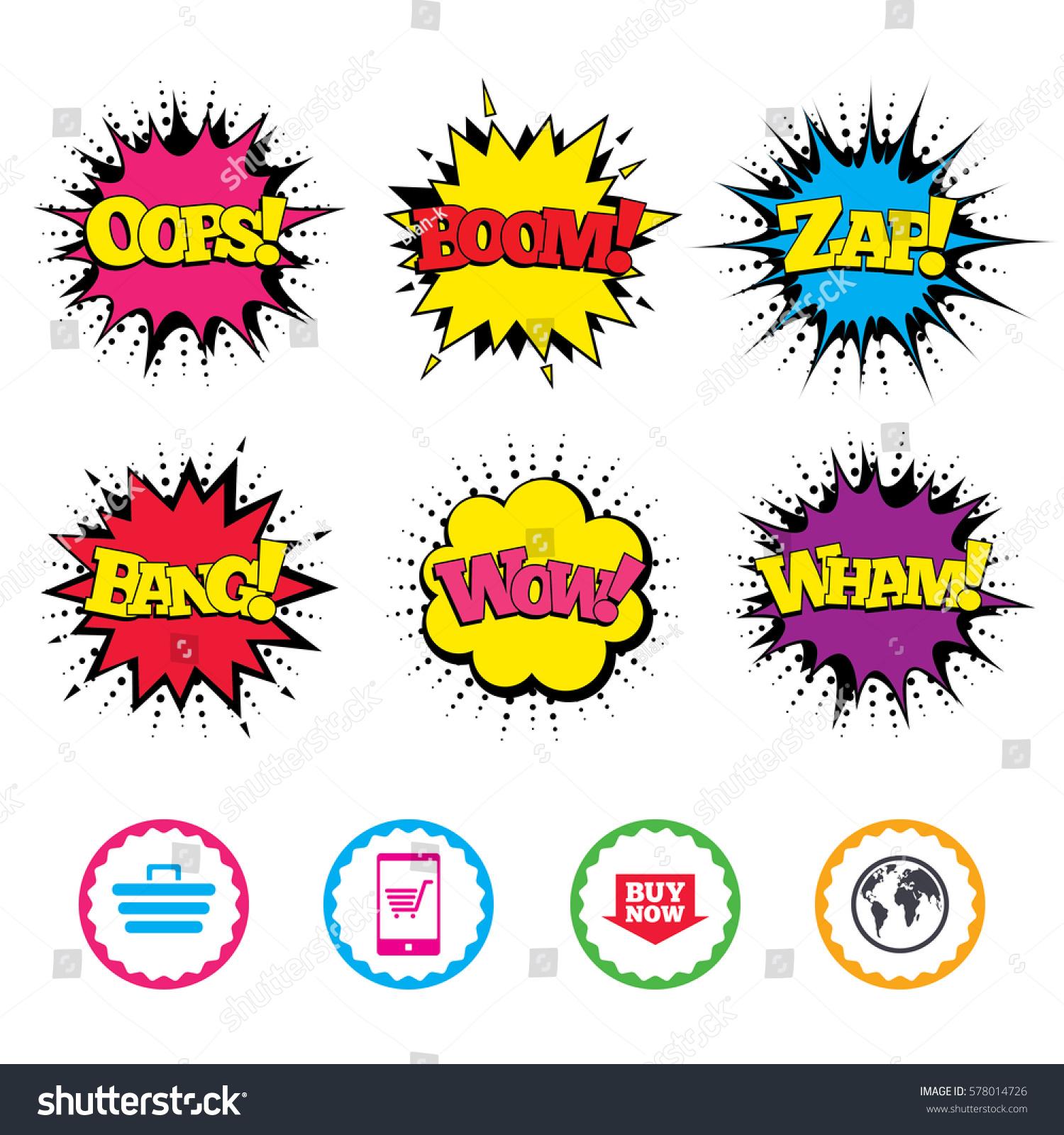 Comic Wow Oops Boom Wham Sound Stock-Vektorgrafik 578014726 ...