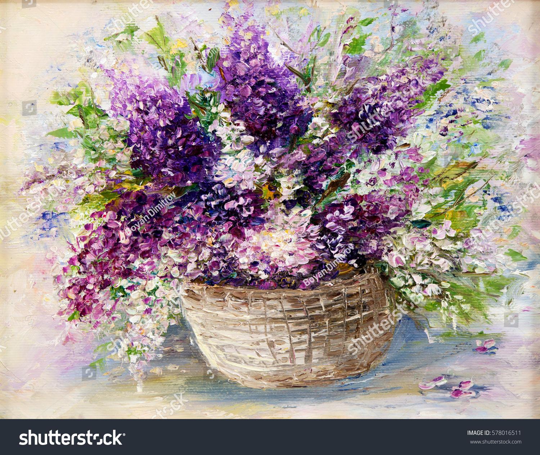 Original oil painting beautiful vase bowl stock illustration original oil painting of beautiful vase or bowl of fresh lavender flowers on canvas floridaeventfo Images