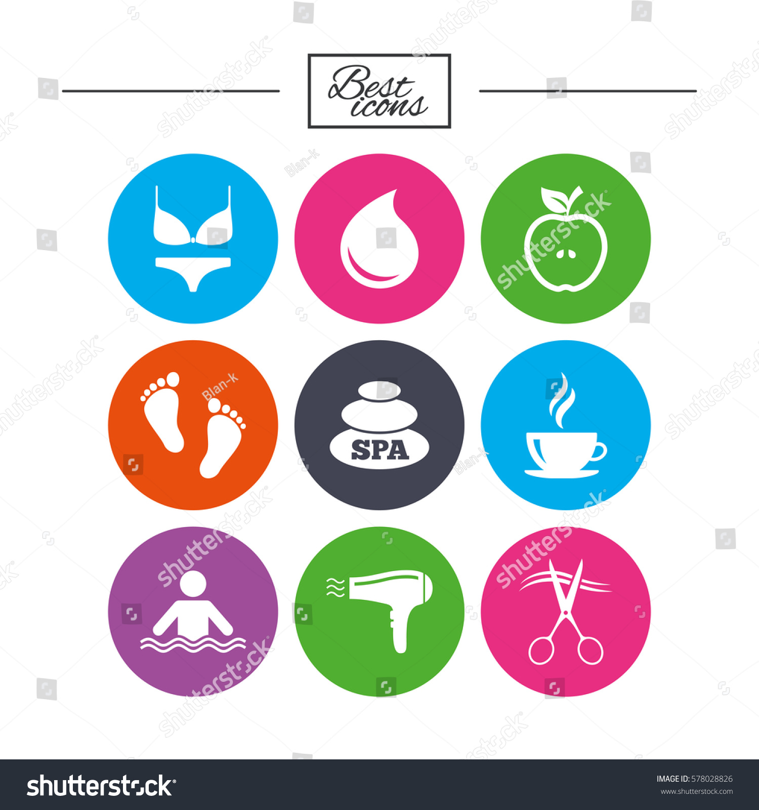 Swimming Pool Cleaning Symbols : Spa hairdressing icons swimming pool sign stock vector