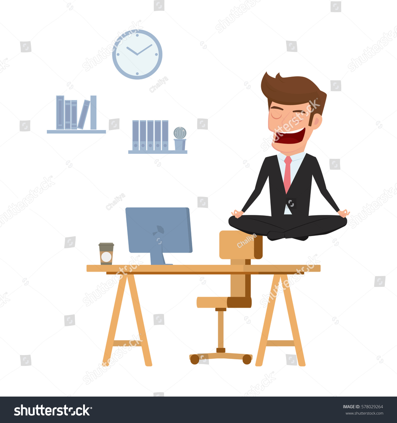 Businessman Meditating Peace Over Office Table Stock ...