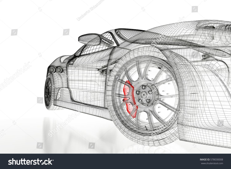 Car Vehicle 3 D Blueprint Mesh Model Stockillustration 578030008 ...
