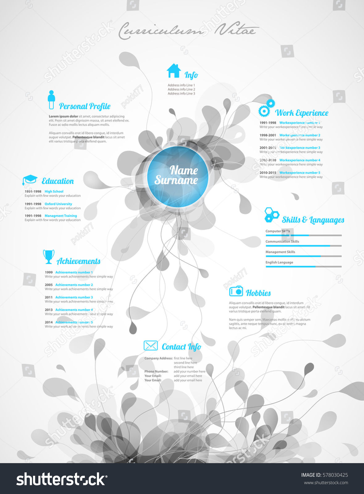 Creative Turquoise Color Cv Resume Template Stock Vector Royalty