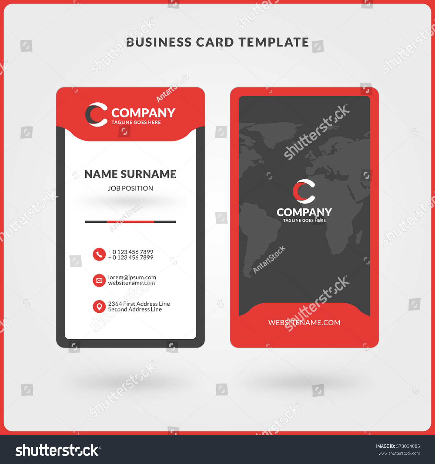 Vertical doublesided business card template red stock vector vertical doublesided business card template red stock vector 578034085 shutterstock wajeb Choice Image