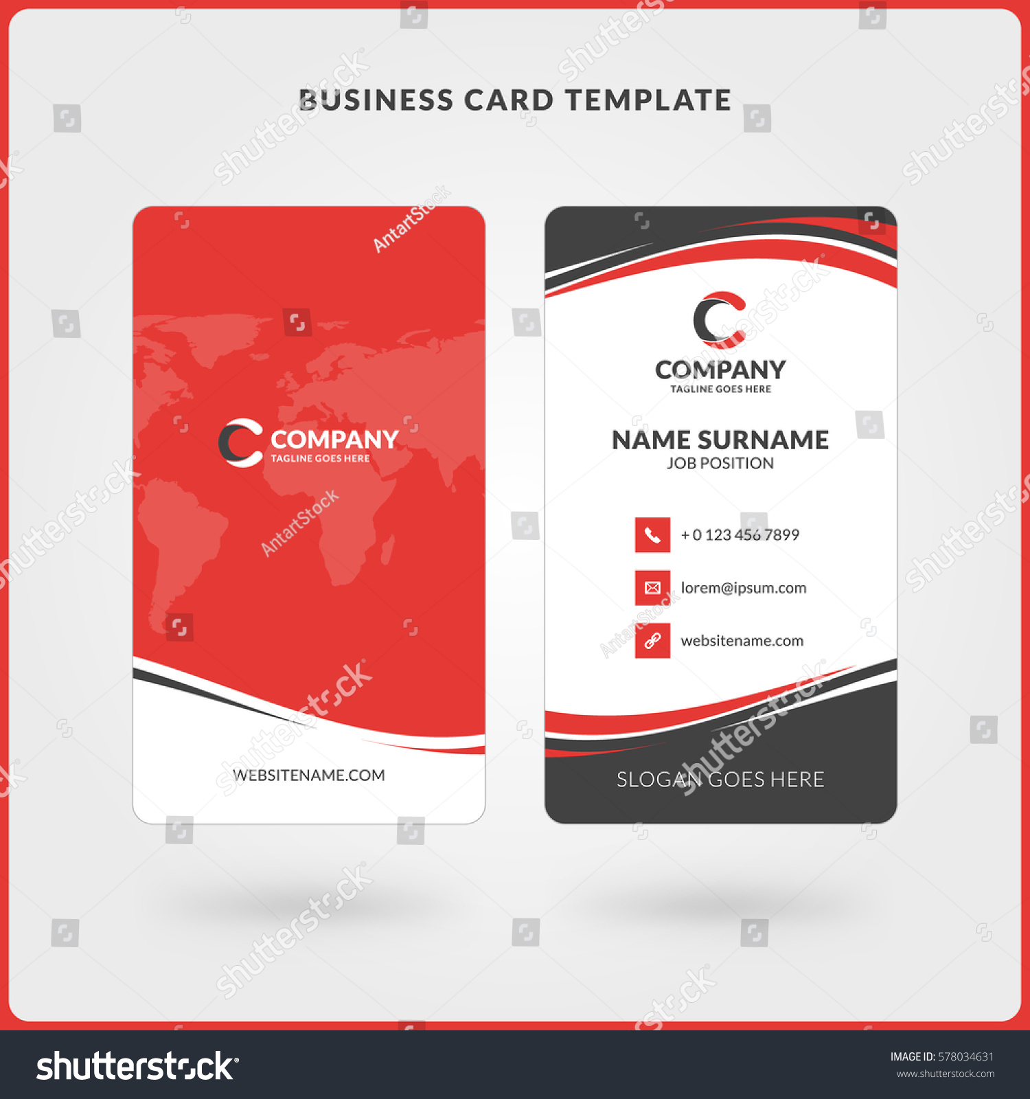 Vertical Doublesided Business Card Template Red Stock Vector - Double sided business card template