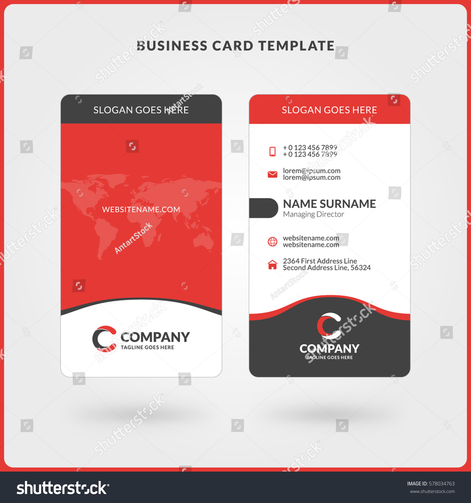 vertical doublesided business card template red stock vector 578034763 shutterstock. Black Bedroom Furniture Sets. Home Design Ideas