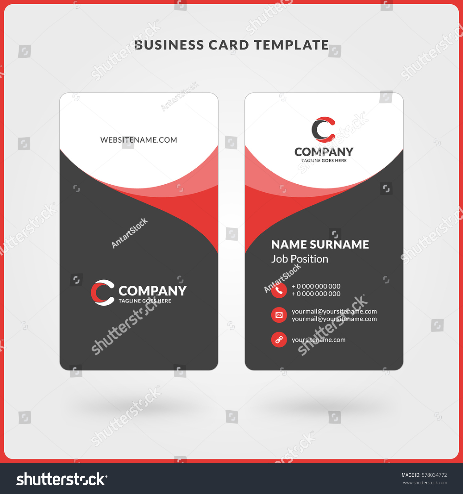 Vertical Doublesided Business Card Template Red Stock Vector ...