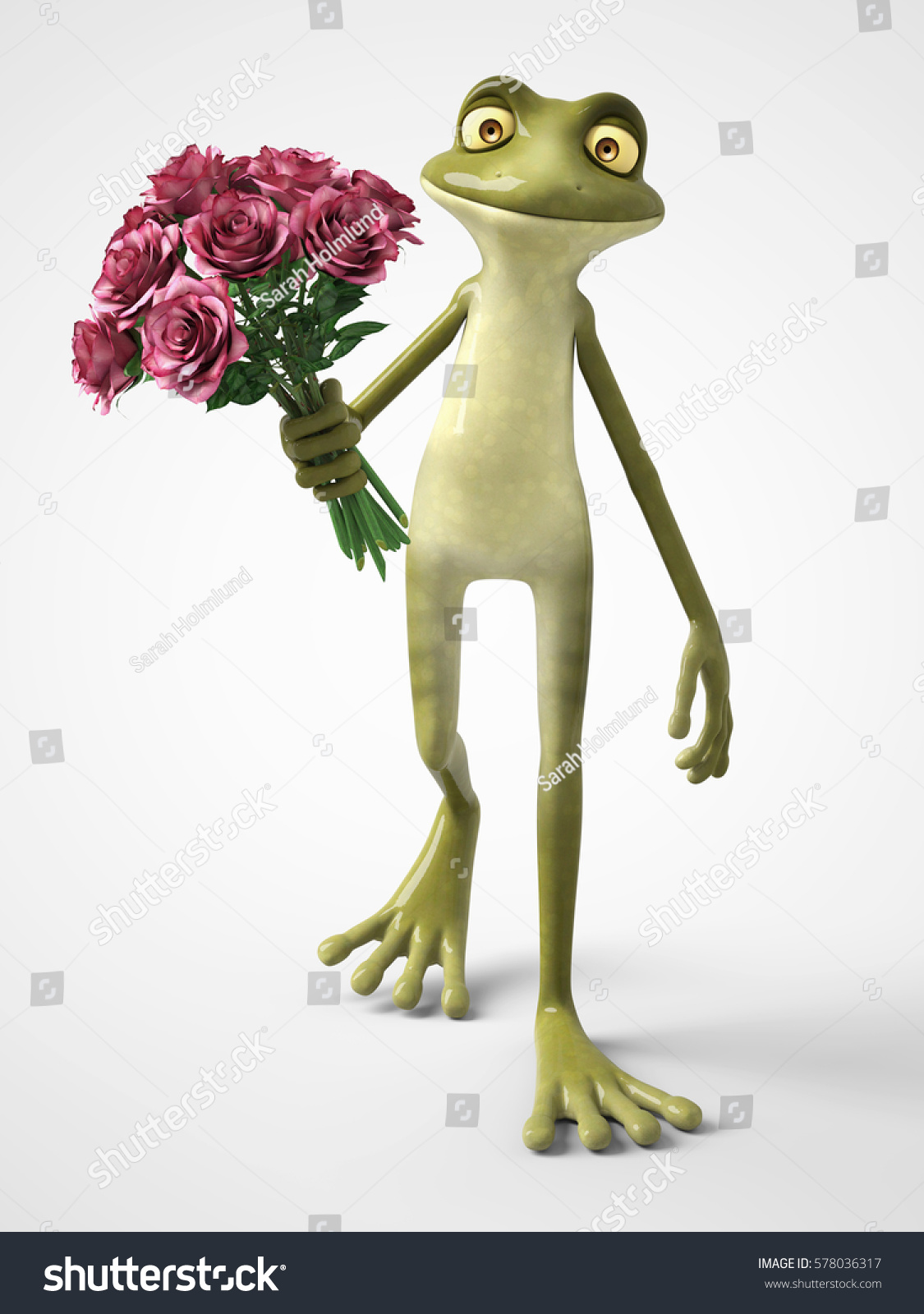 3d rendering smiling romantic cartoon frog stock illustration