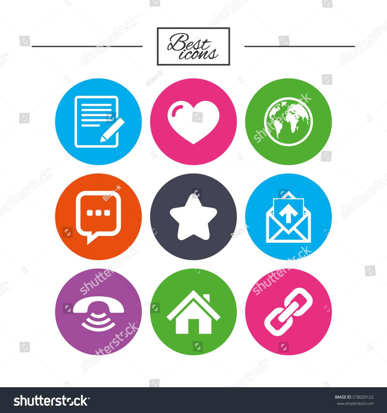 Mail Contact Icons Favorite Like Internet Stock Vector Royalty Free