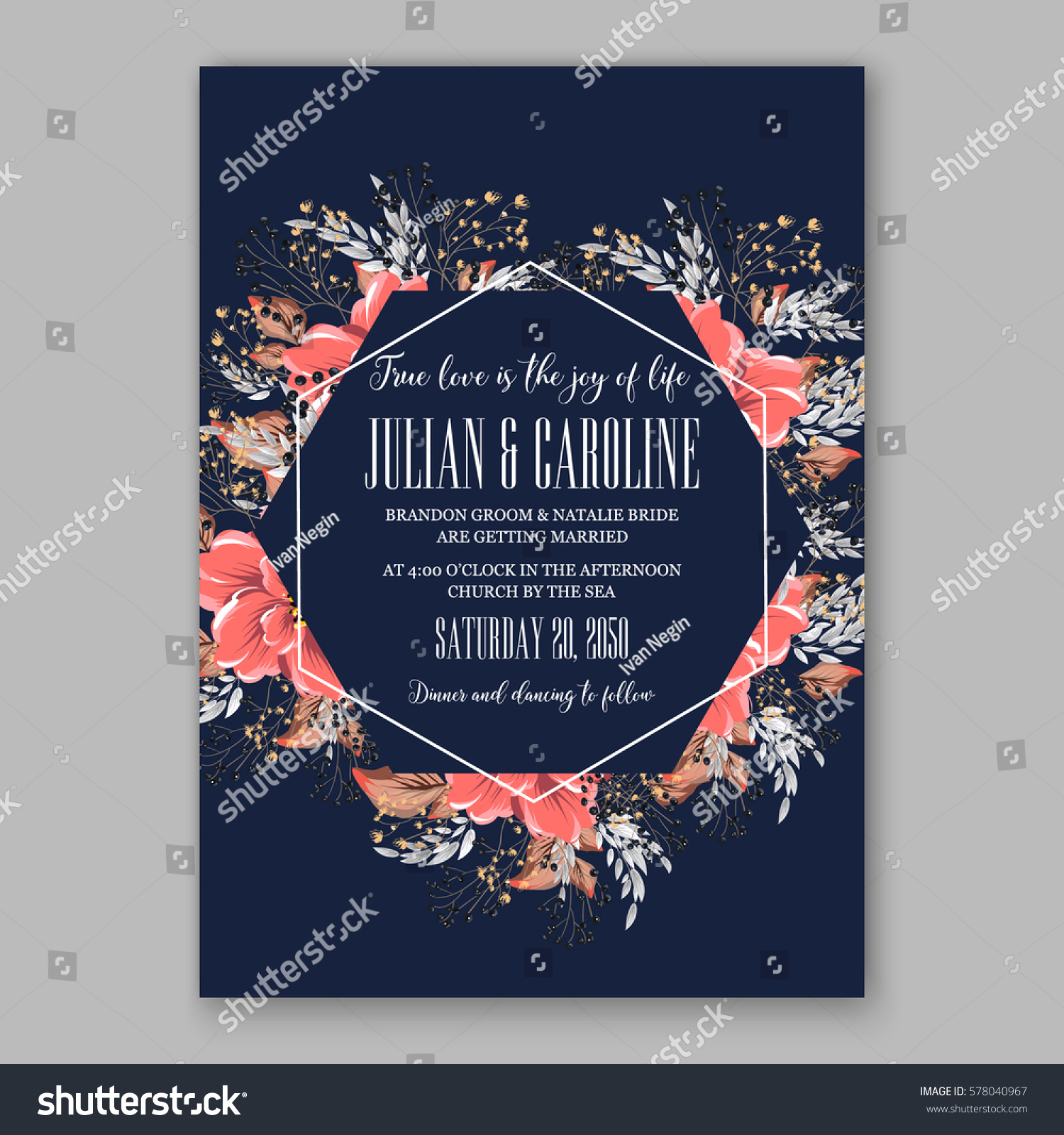Wedding invitation card tropical poinsettia peony stock vector wedding invitation card tropical poinsettia peony stock vector 578040967 shutterstock stopboris Image collections