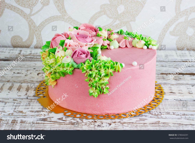 Birthday Cake Flowers Rose On White Stock Photo Edit Now 578044291