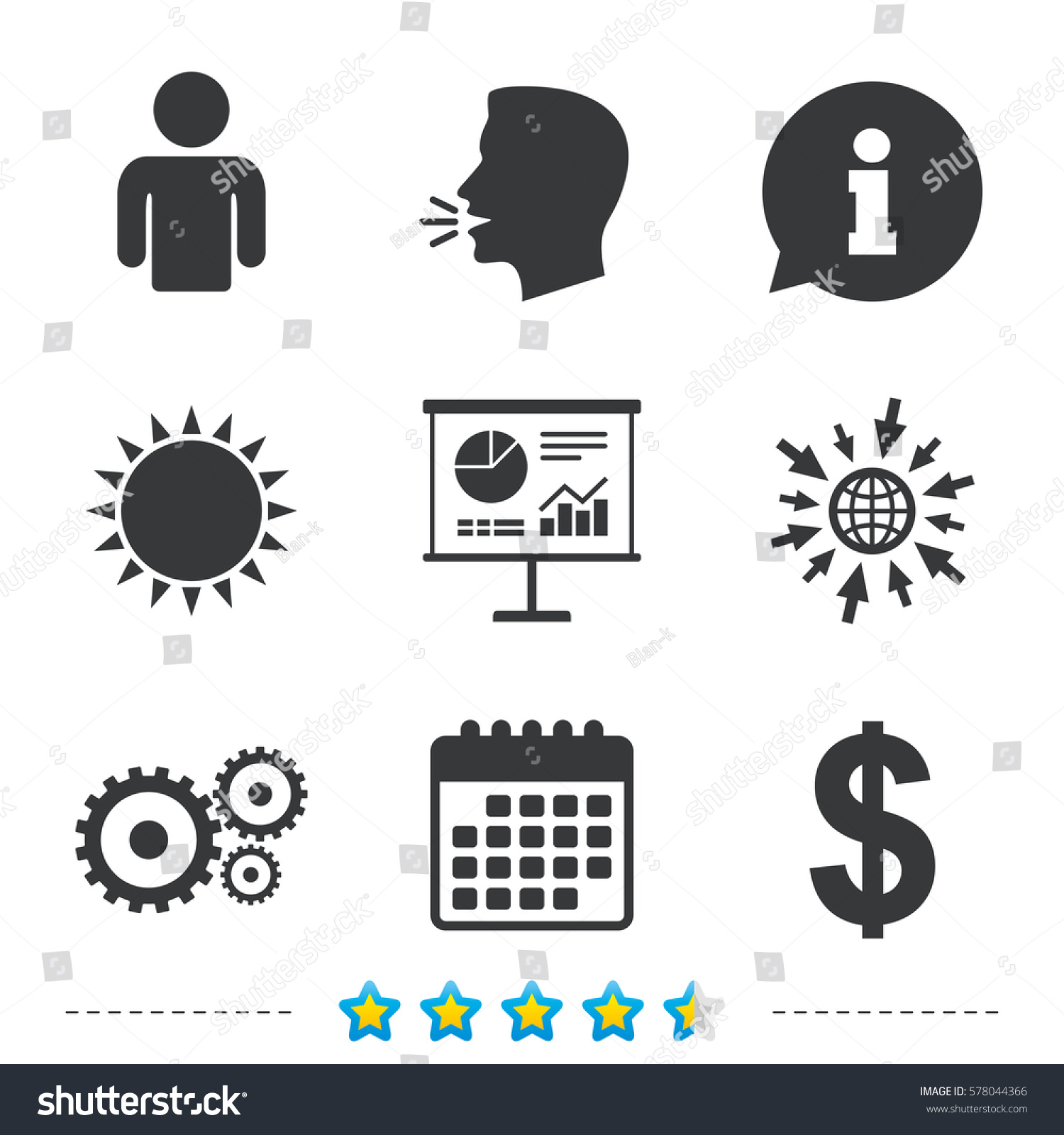 Business Icons Human Silhouette Presentation Board Stock Vector