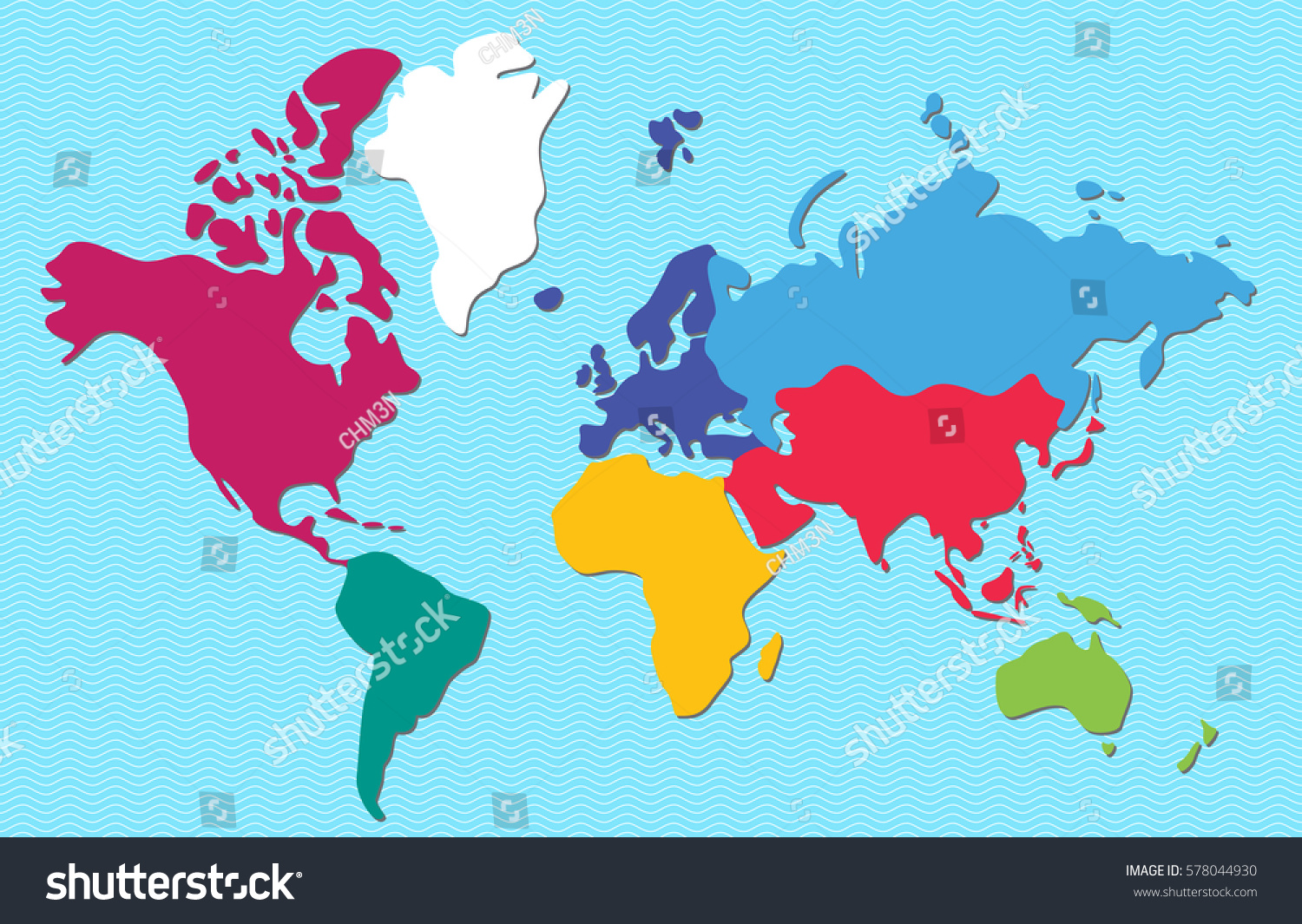 Abstract colorful world map continents isolated vectores en stock abstract colorful world map continents isolated on light blue background vector illustration gumiabroncs Gallery