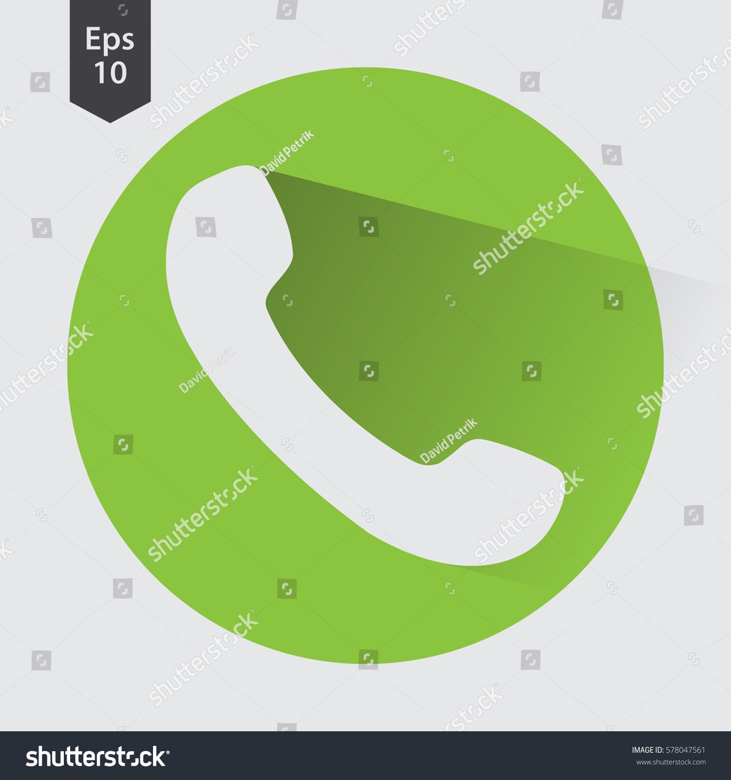Simple Phone Symbol Circle Flat Icon Stock Vector Royalty Free