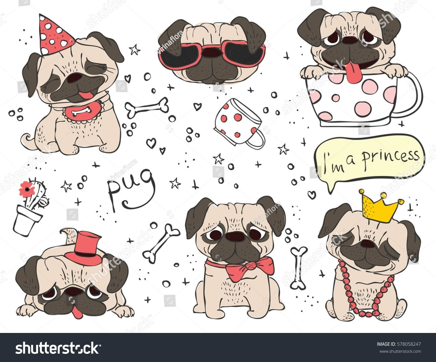 Vector Set Cute Doodle Dogs Pugs Stock Vector Royalty Free 578058247