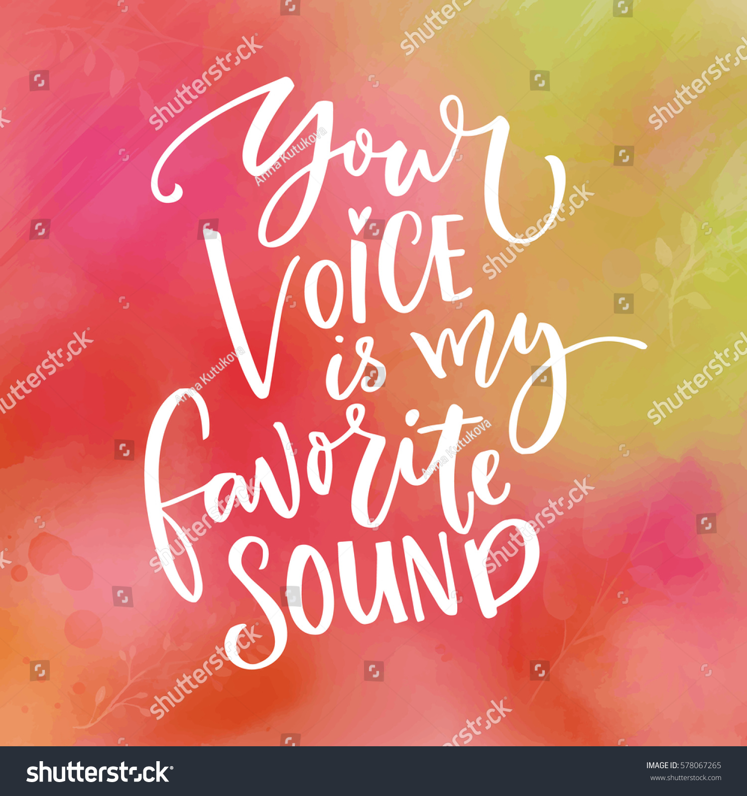 Your Voice My Favorite Sound Love Stock Vector 578067265 Shutterstock