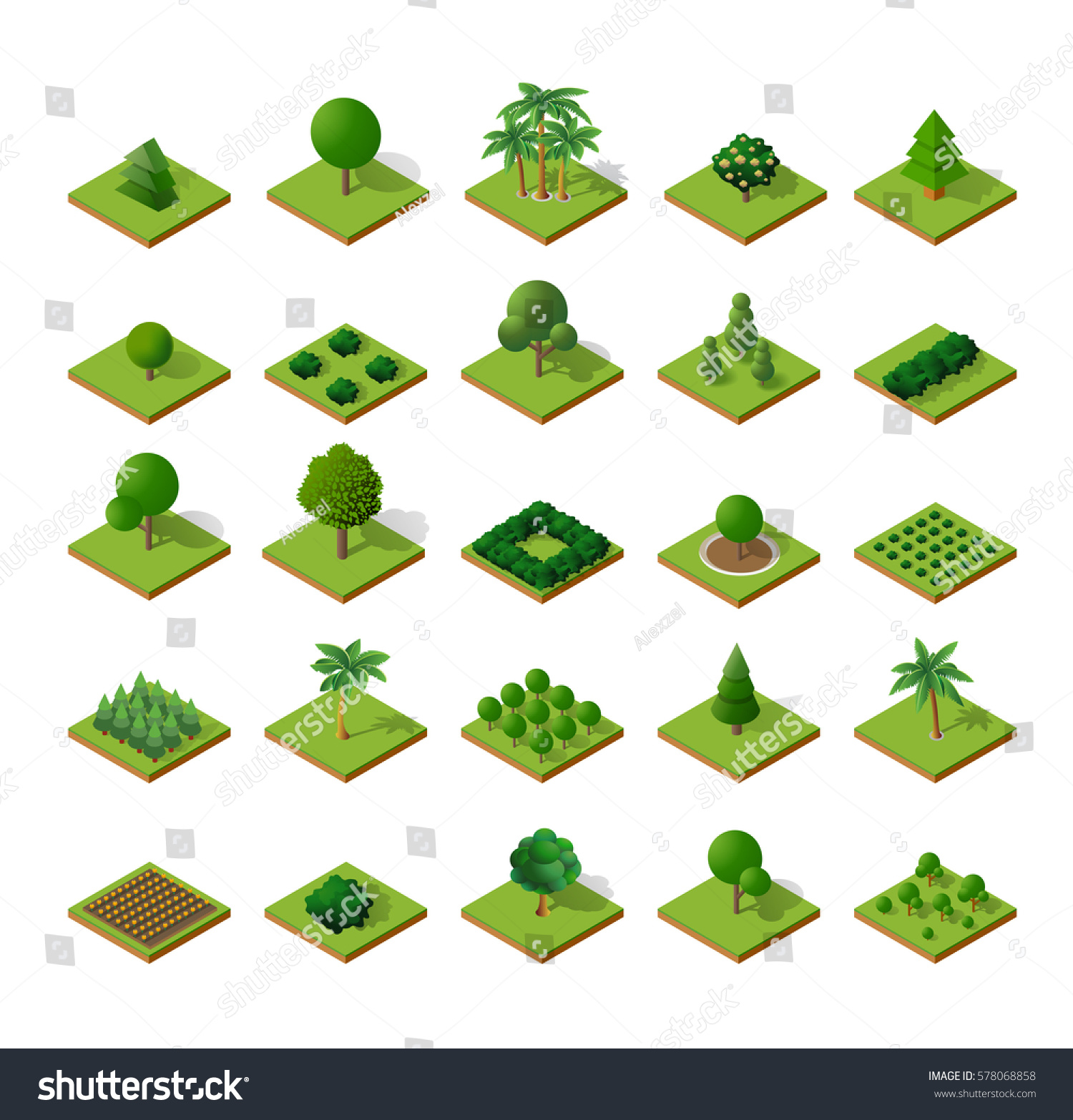 More similar stock images of 3d landscape with fall tree - Set Isometric 3d Trees Forest Nature Elements White Background For Landscape Design Vector Illustration Isolated