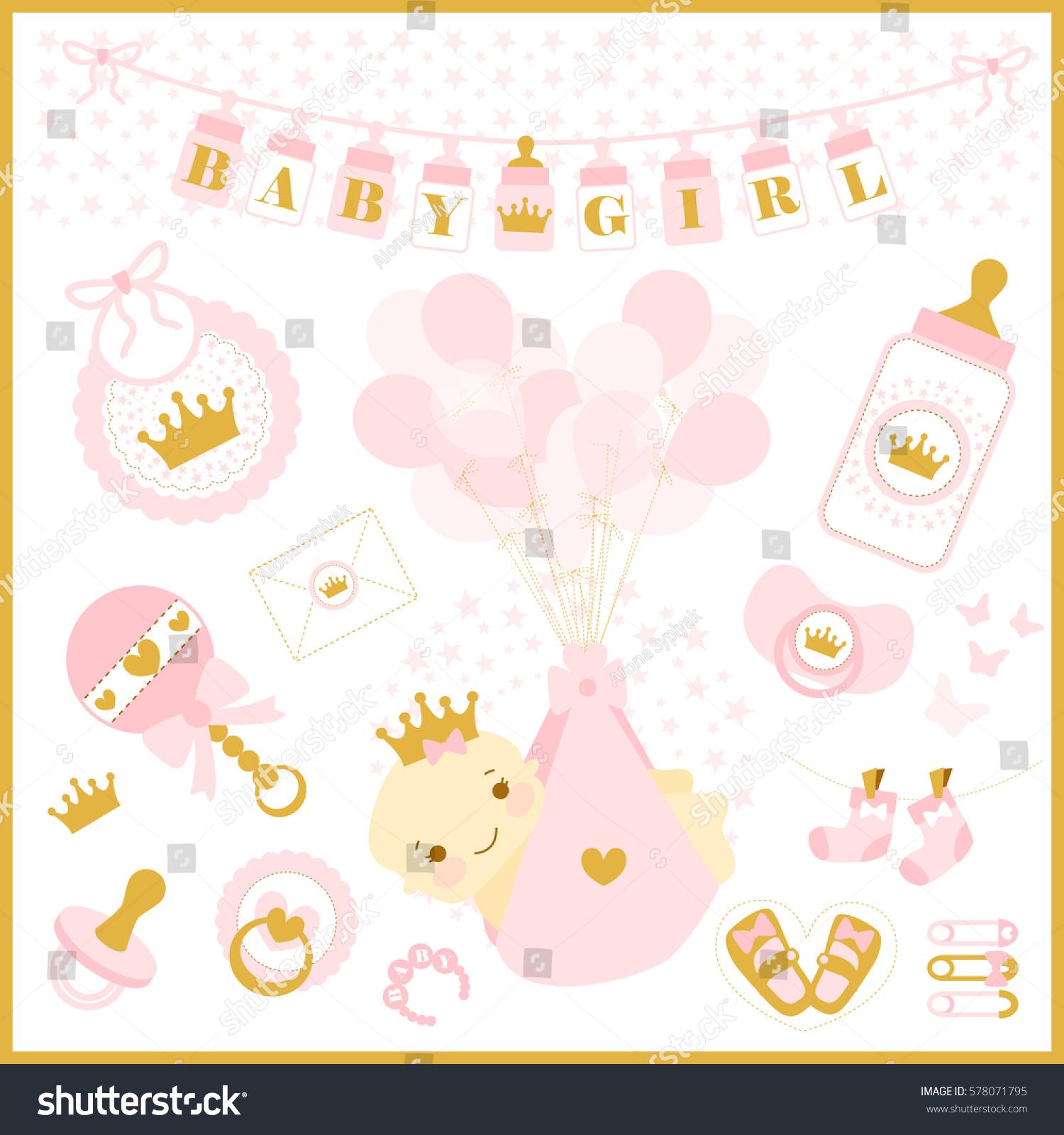 Baby Girl Shower Party Vector Set Stock Vector 578071795 ...