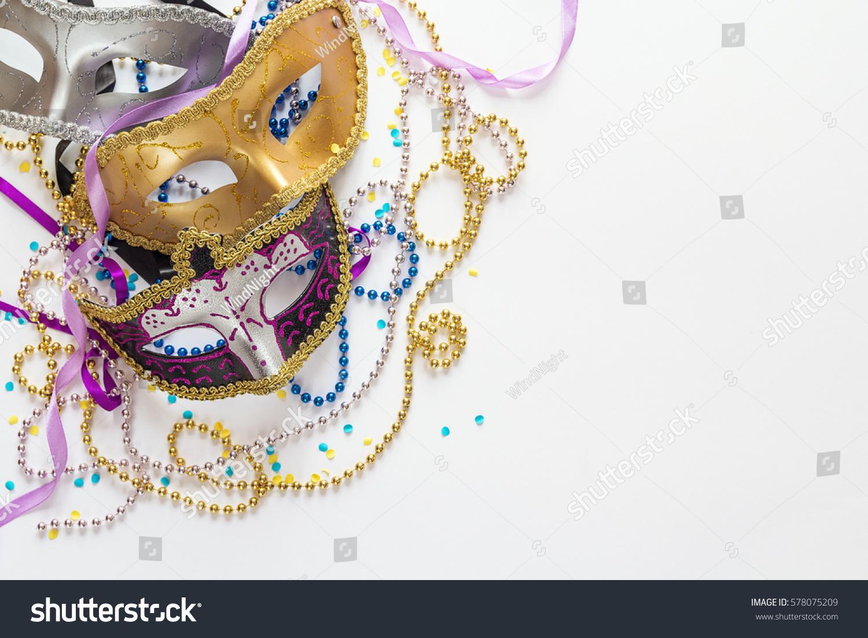 Mardi Gras Background Masks Beads Copy Foto de stock (libre de ...