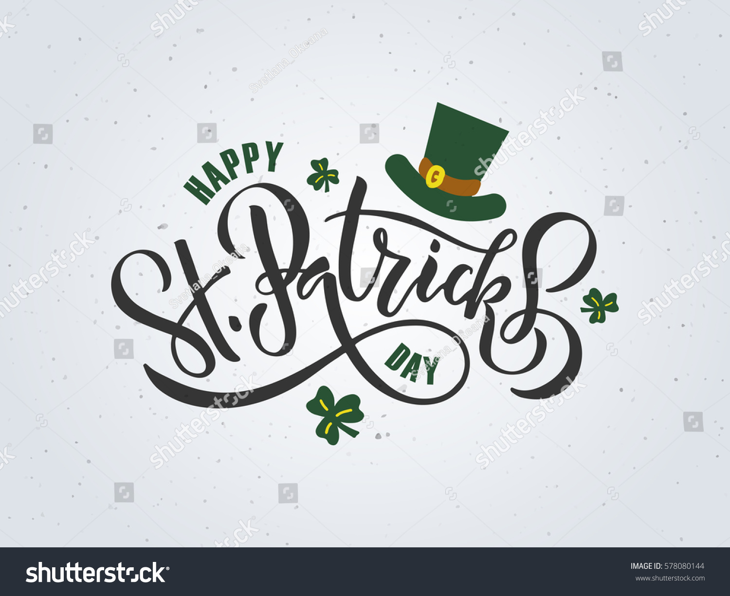 Vector illustration of Happy Saint Patrick's Day logotype. Hand sketched Irish celebration design. Beer festival lettering typography icon. Hand drawn typography badge with green hat and shamrock #578080144