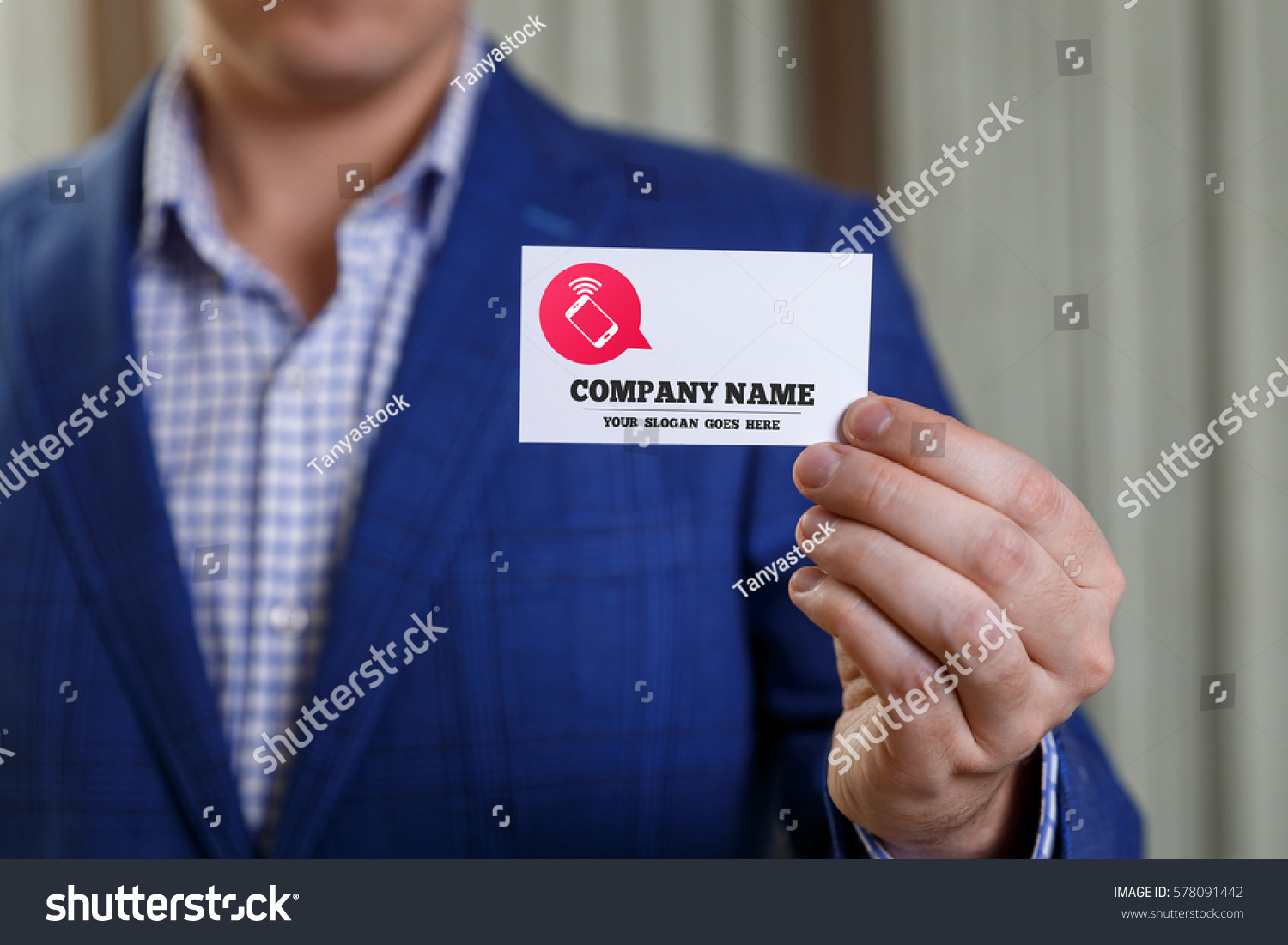 Businessman Holding Visit Card Man Showing Stock Photo 578091442 ...