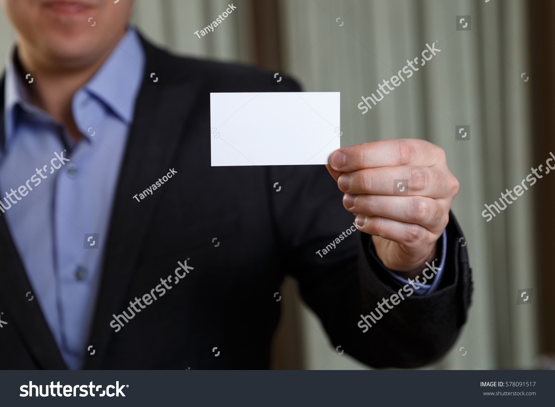 Businessman Holding Visit Card Man Showing Stock Photo 578091517 ...