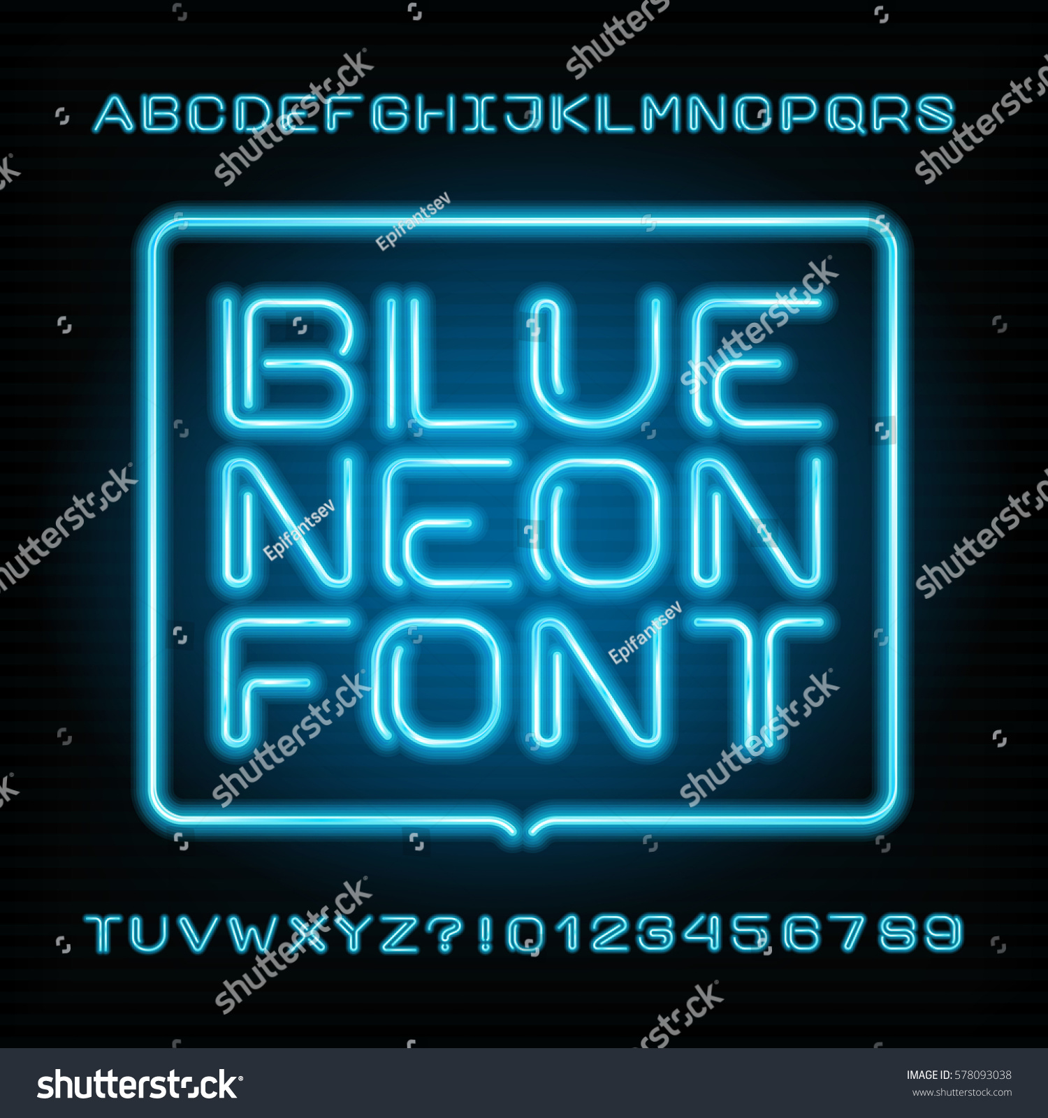 Neon Tube Alphabet Font Type Letters Stock Vector