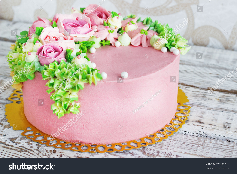 Birthday cake flowers rose on white stock photo edit now 578142241 birthday cake with flowers rose on white background izmirmasajfo