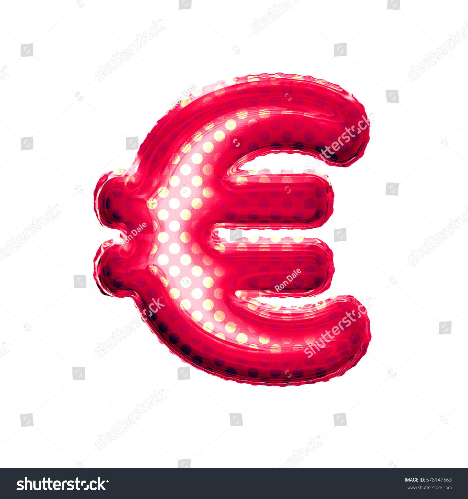 Metallic Red Gold Balloon Euro Currency Stock Illustration 578147563