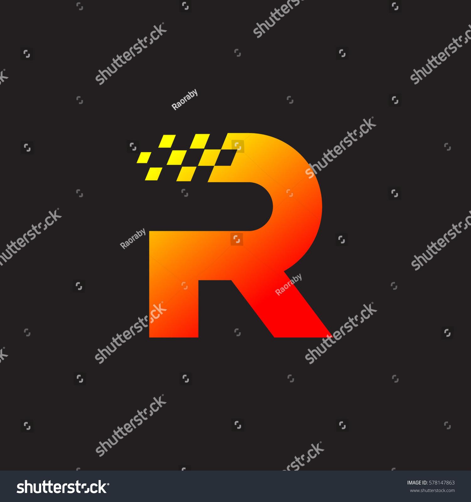 Letter R Logo Fast Speed Moving Stock Vector 578147863