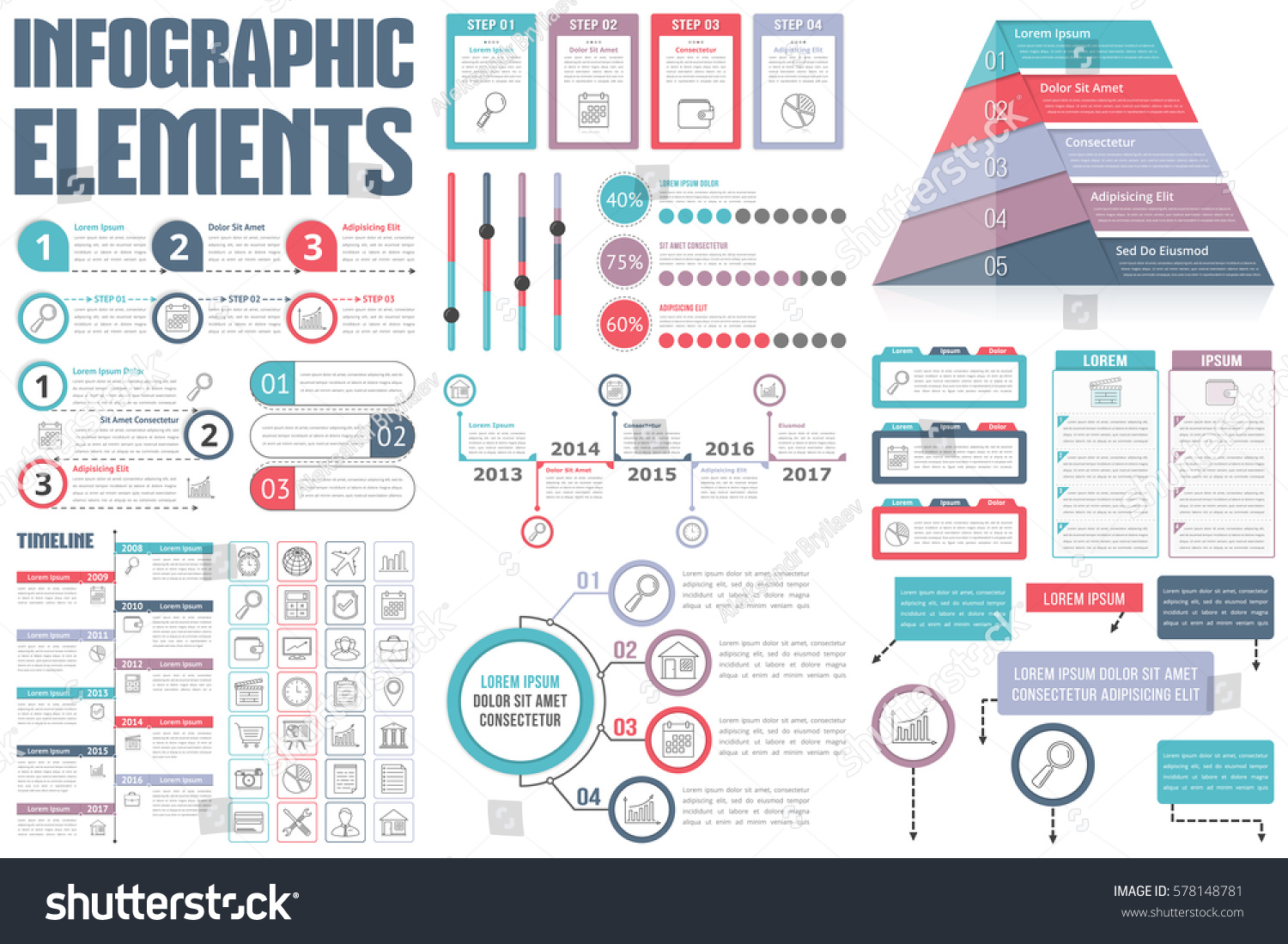 Infographic Elements Process Infographics Workflow Diagrams Stock Vector 578148781