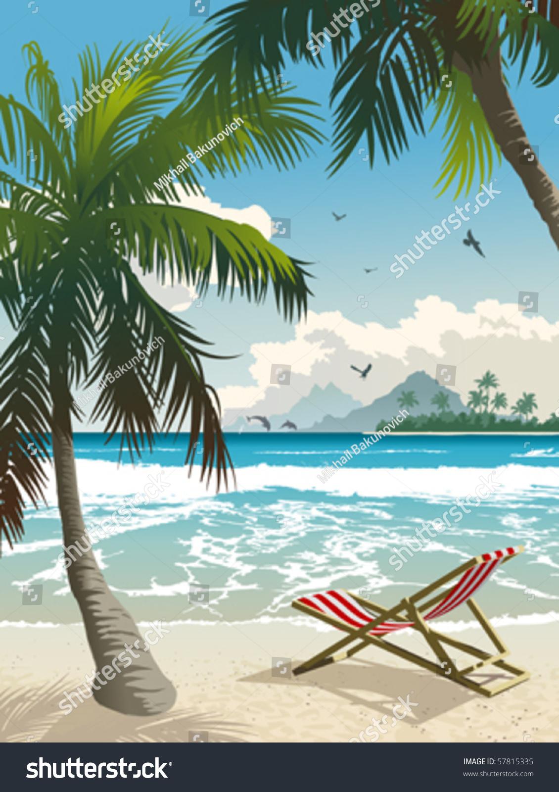 Hawaii Beach Vector Illustration Tropical Beach Stock