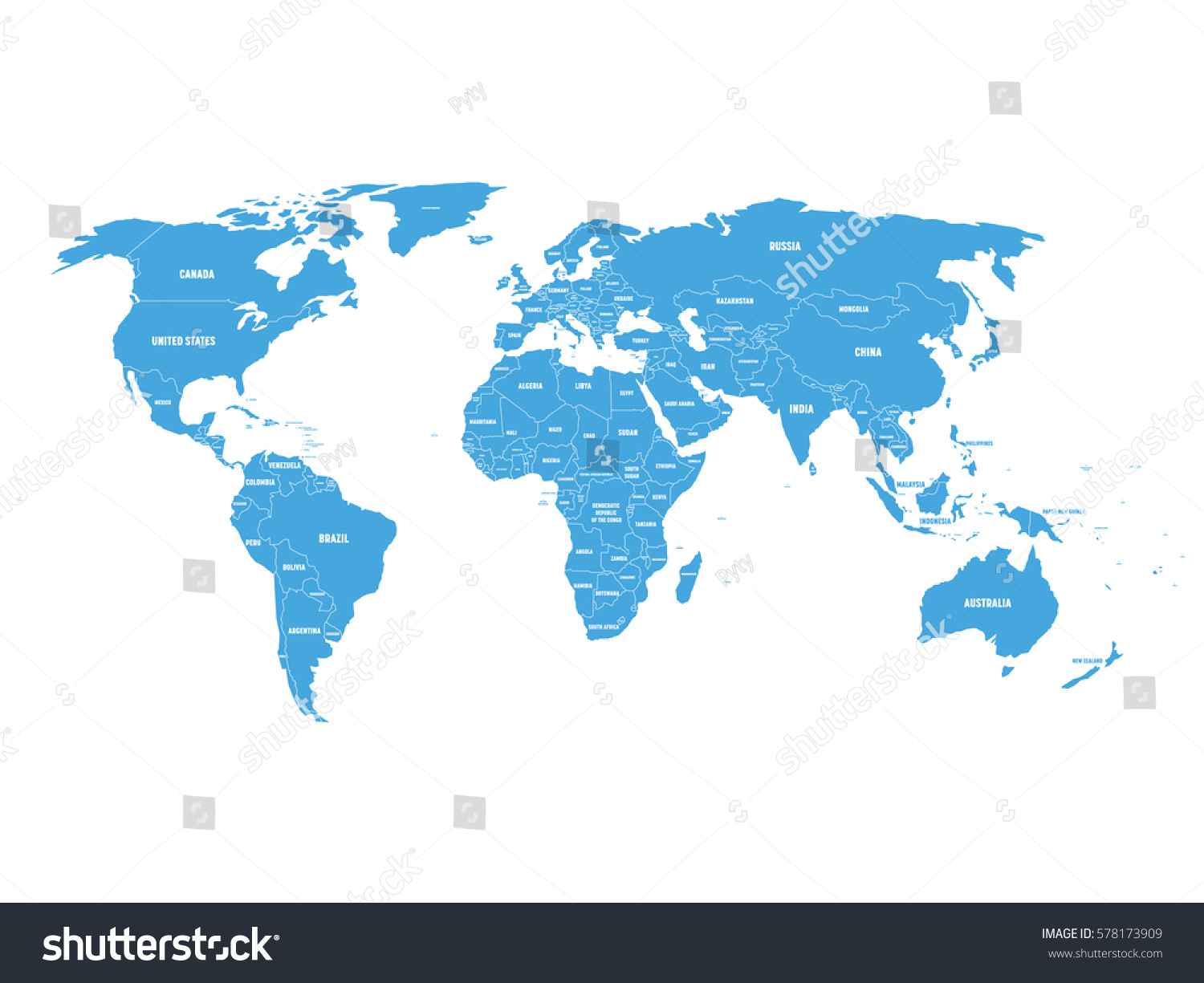 Blue Political World Map Country Borders Stock Vector - World map country labels