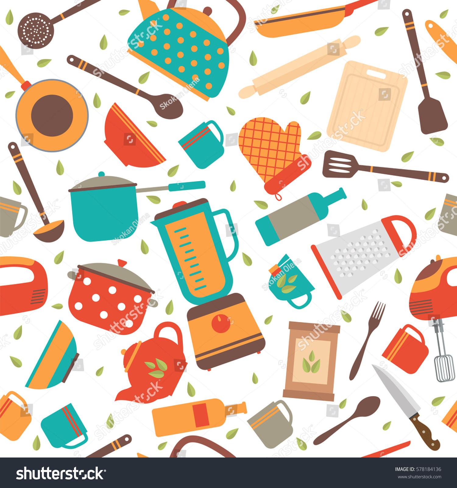 Kitchen Background Image: Seamless Pattern Kitchen Tools Cooking Utensils Stock
