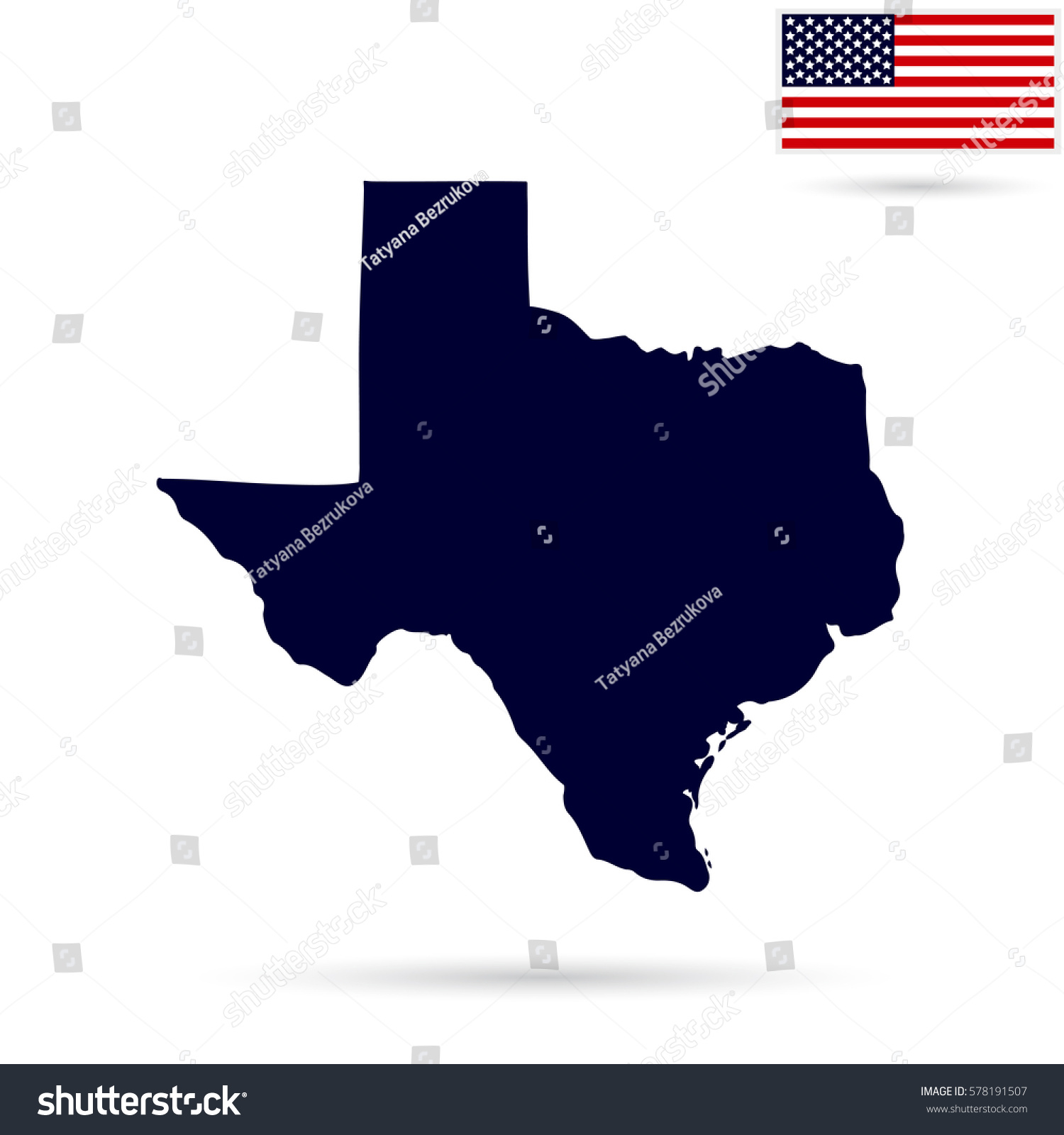 Map Us State Texas On White Stock Vector Shutterstock - Texas on us map