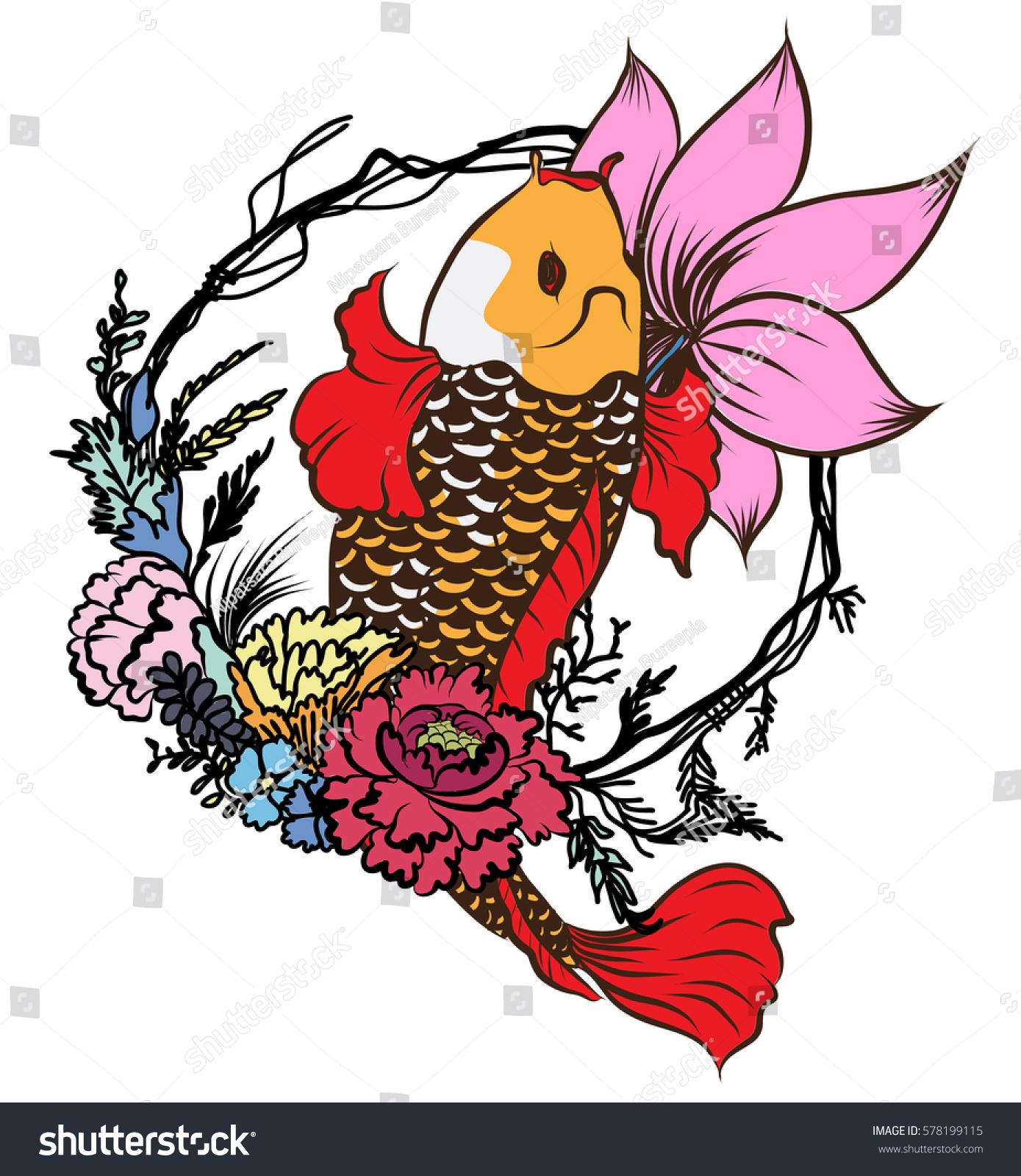 Hand Drawn Koi Fish Flower Tattoo Stock Vector 578199115 - Shutterstock