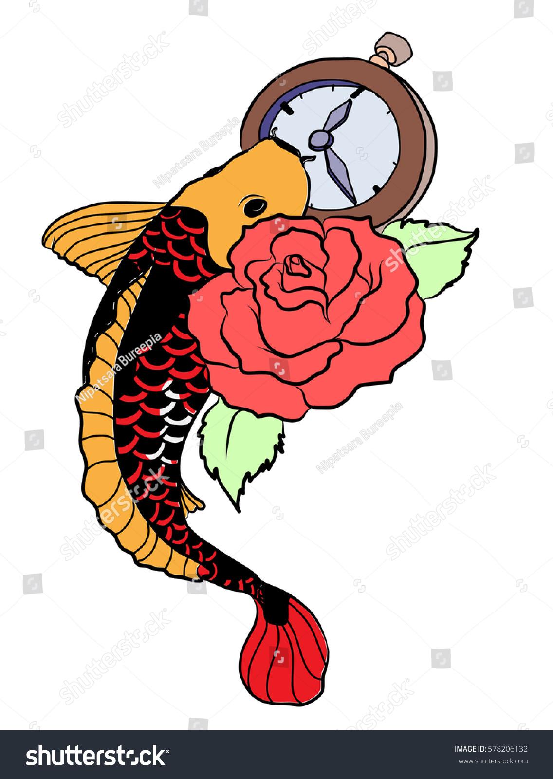 Koi Fish Tattoo Japanese Style Stock Photo (Photo, Vector ...