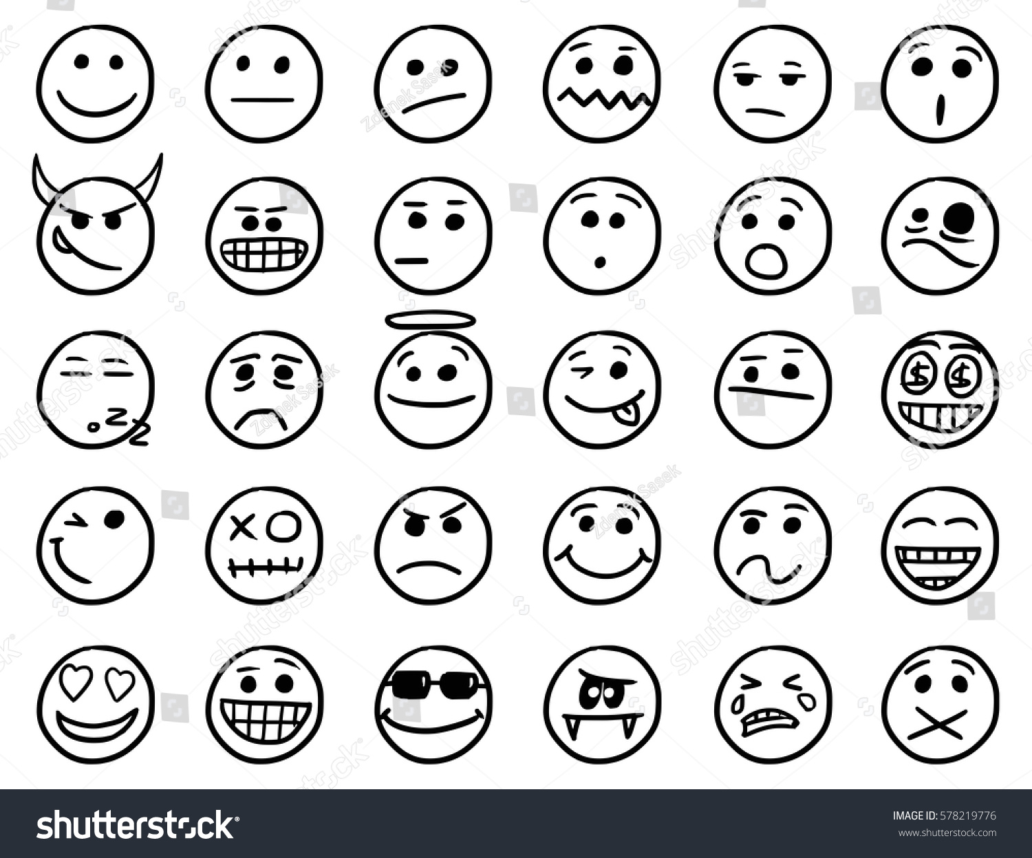 Set smiley emoticon icons drawings doodles stock vector 578219776 shutterstock - Smiley simple noir et blanc ...