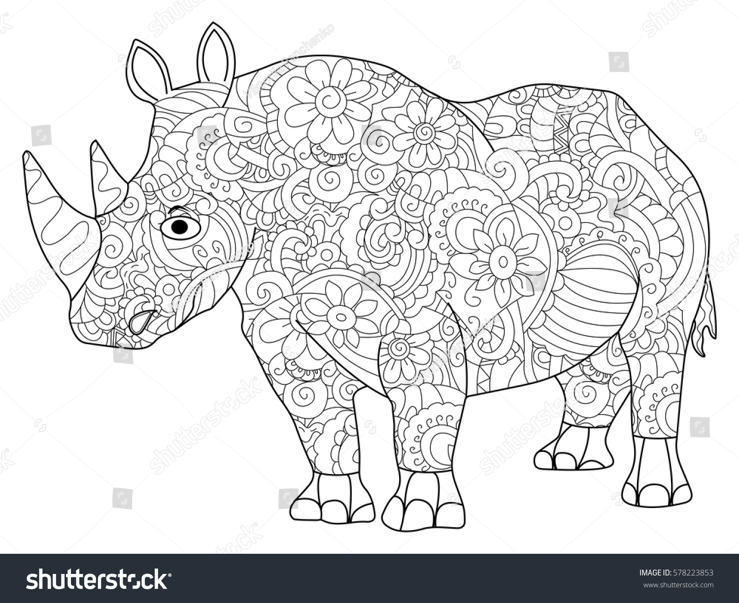 Hippopotamus Animal Coloring Book For Adults Vector Illustration Anti Stress Adult