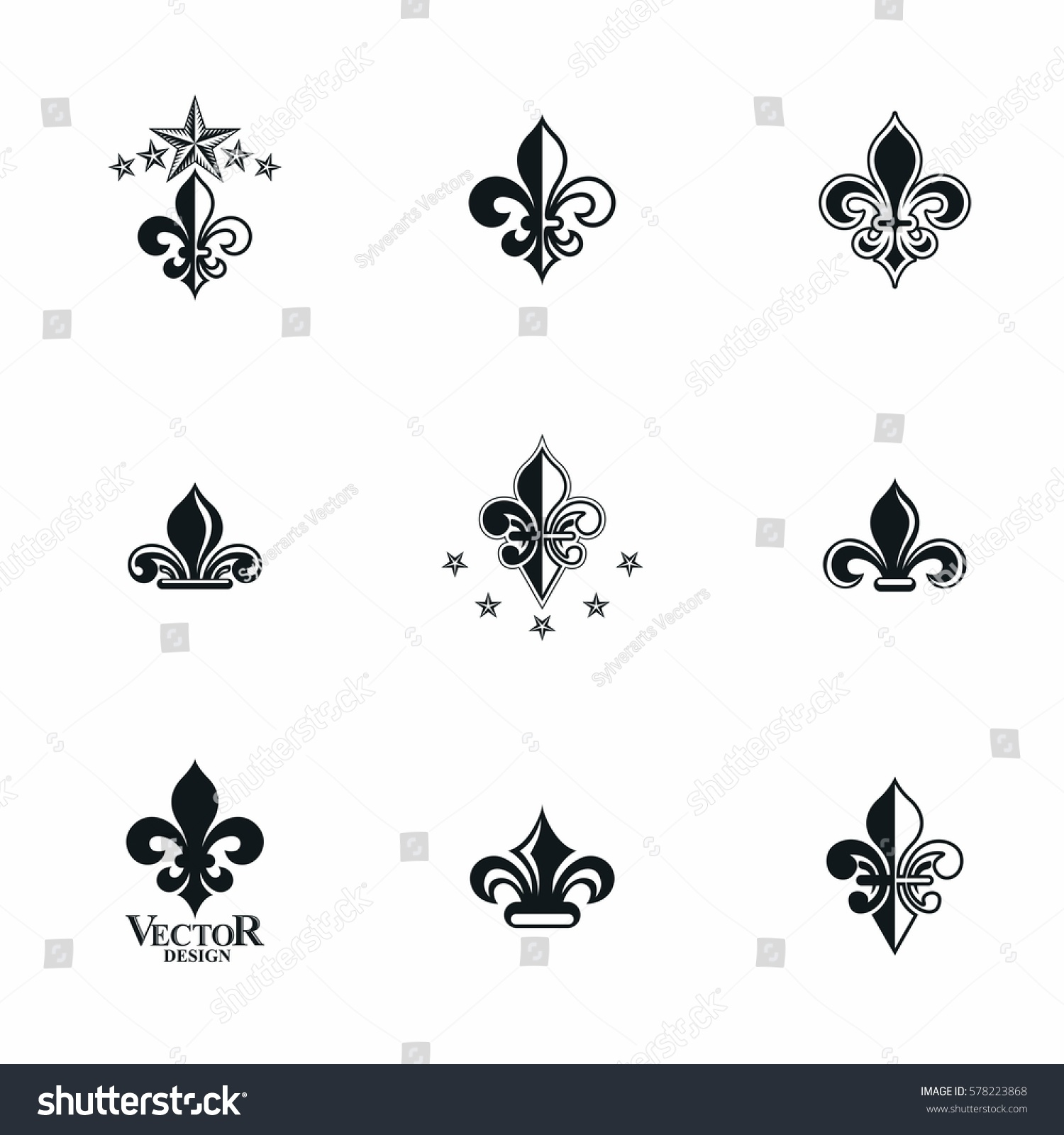 Royal symbols lily flowers emblems set stock vector 578223868 royal symbols lily flowers emblems set heraldic vector design elements collection retro style label buycottarizona