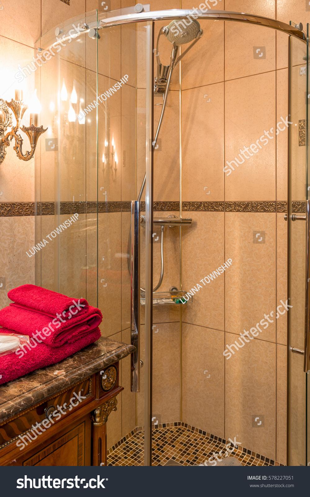 Moscow russian federation circa february 2017 stock photo 578227051 moscow russian federation circa february 2017 hotel interior bathroom shower dailygadgetfo Images