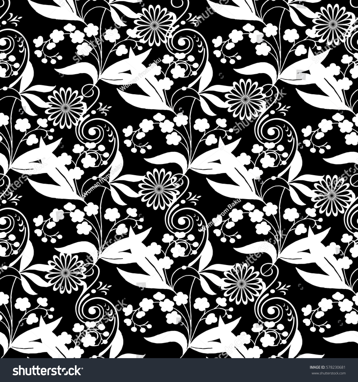 Floral Seamless Pattern Isolated Black Background Wallpaper Stock