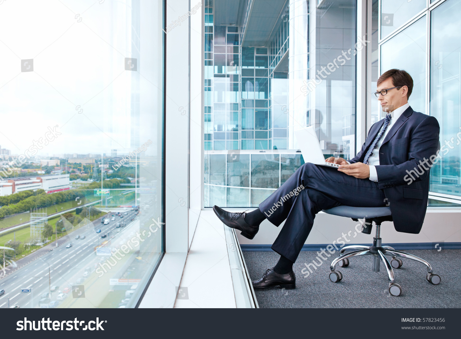 Man Works Laptop Office View Window Stock Photo 57823456 ...