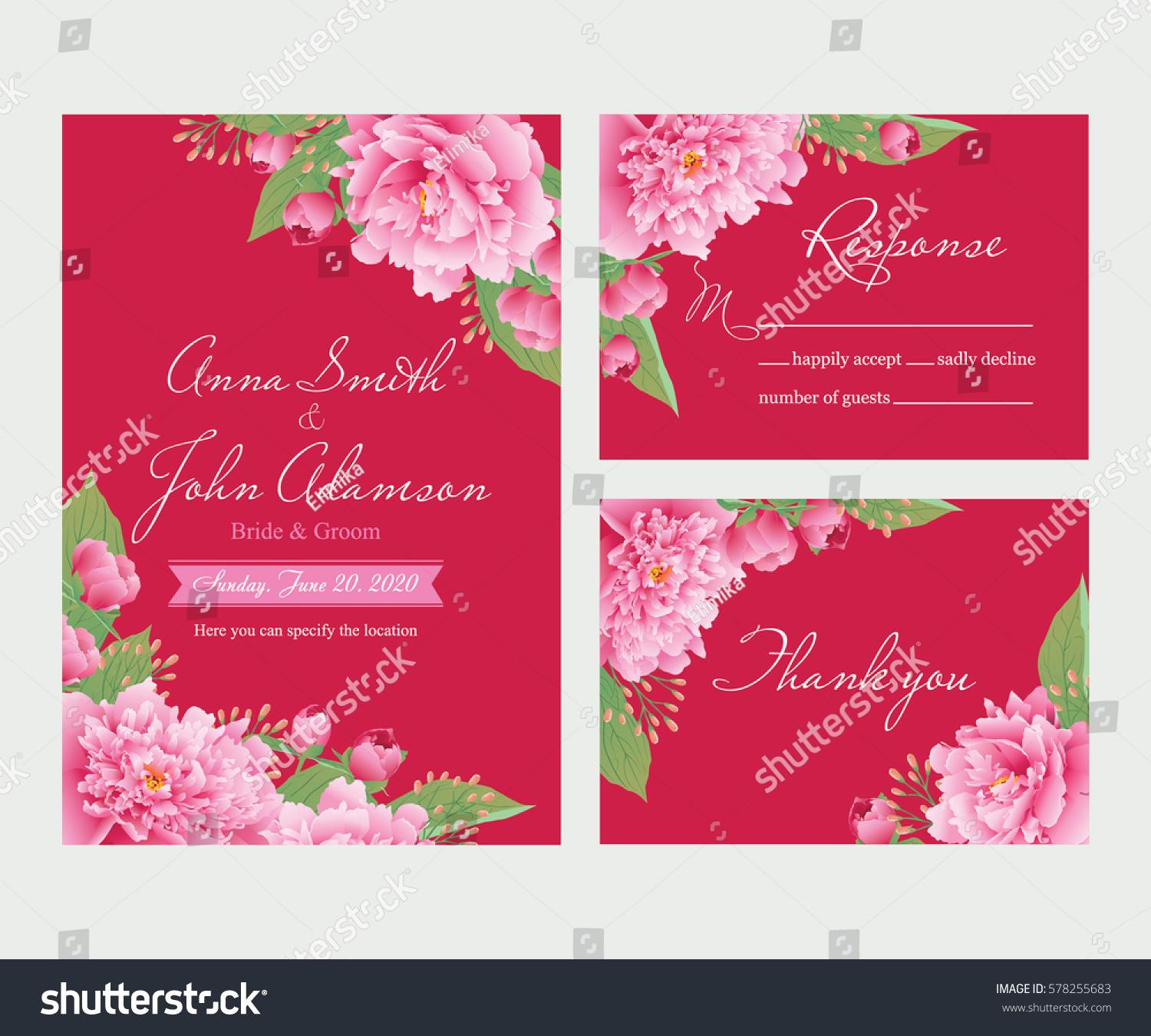 Wedding Invitation Thank You Card Save Stock Vector 578255683 ...