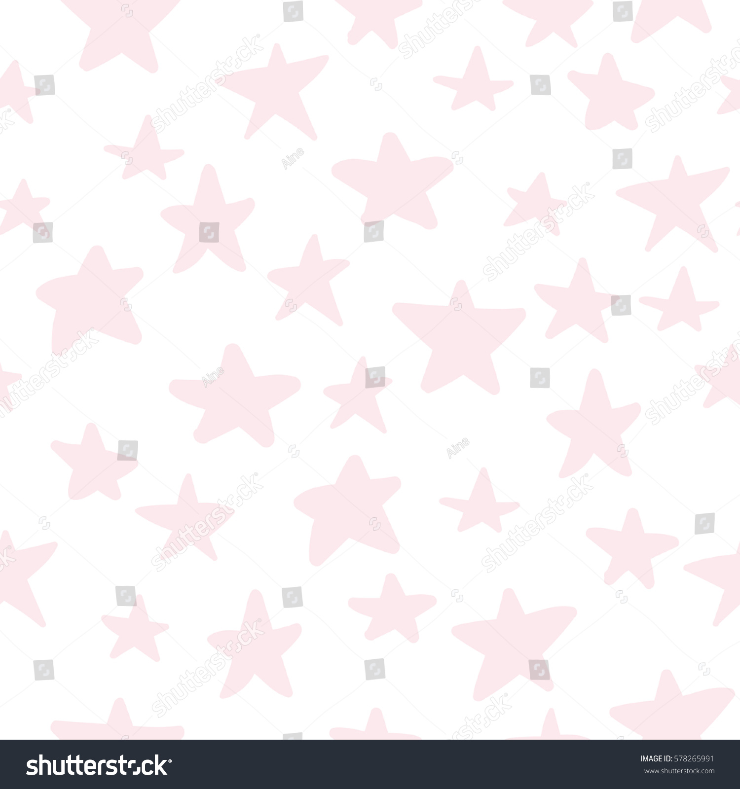 Seamless Pattern With Cute Pastel Pink Hand Drawn Little Stars On White Background Messy Festive