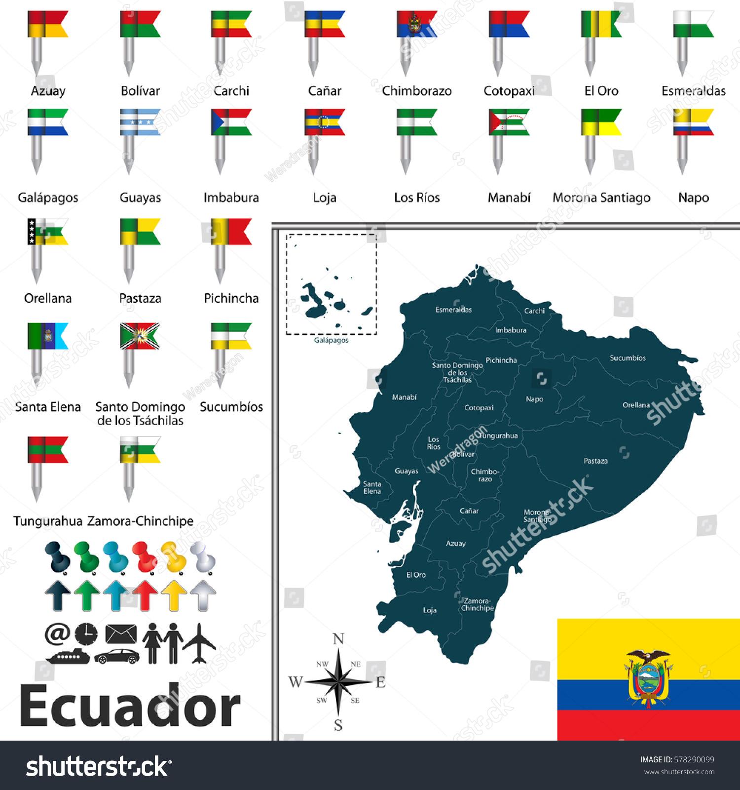 Vector Map Ecuador Regions Flags Provinces Stock Vector - Ecuador provinces map