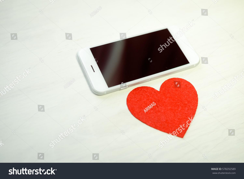 Love Heart Symbol Mobile Phone Valentine Stock Photo Edit Now