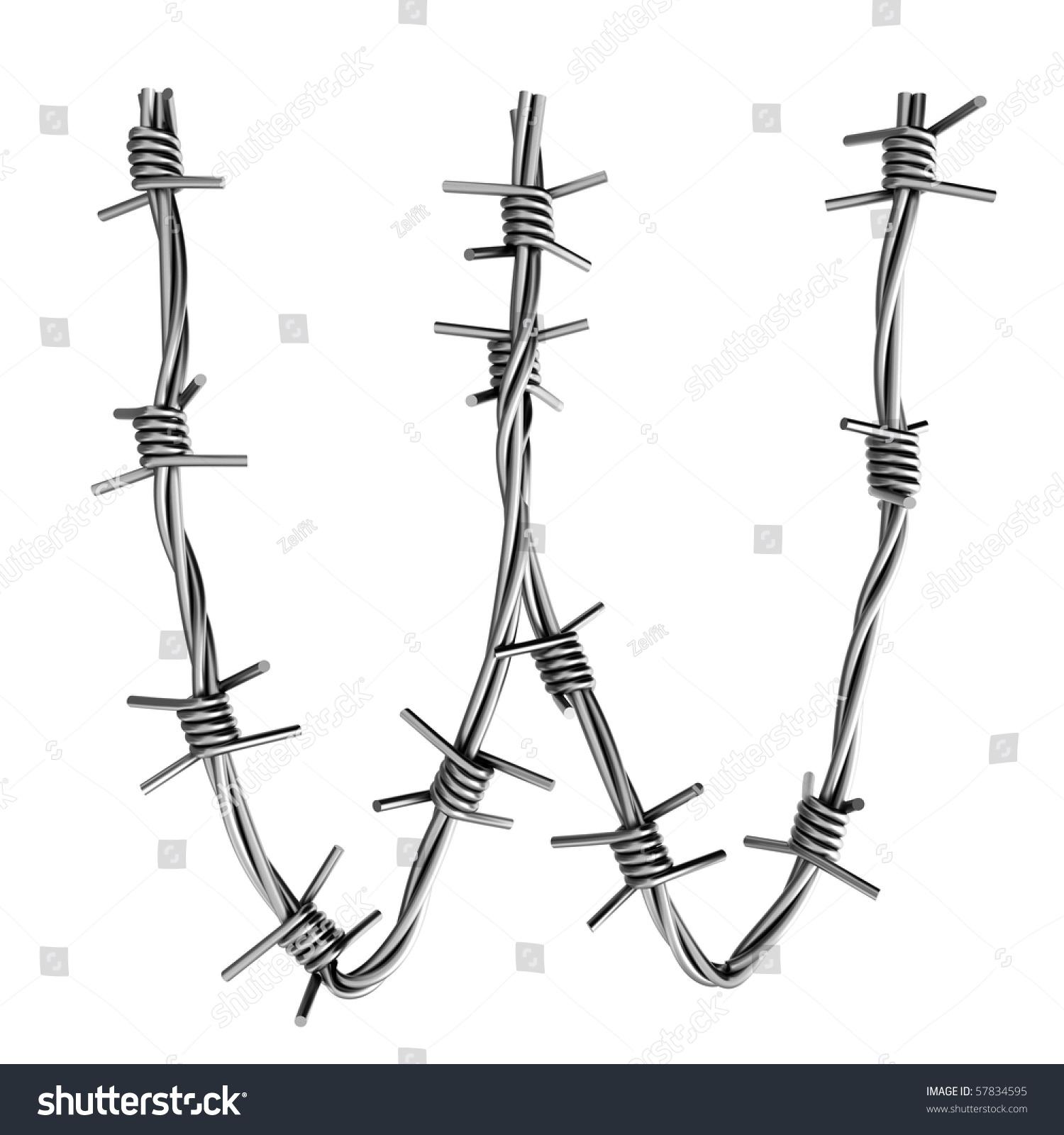 Barbed wire alphabet w stock illustration